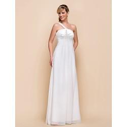Floor Length Chiffon Bridesmaid Dress Ivory Sheath Column One Shoulder