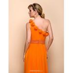 Floor-length Chiffon / Stretch Satin Bridesmaid Dress - Orange Sheath/Column One Shoulder Bridesmaid Dresses