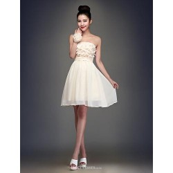 Knee Length Chiffon Bridesmaid Dress Champagne Ball Gown Strapless