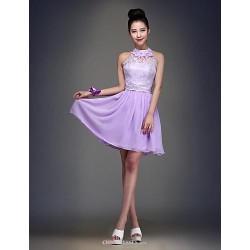 Knee-length Chiffon Bridesmaid Dress - Lilac Ball Gown Jewel