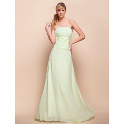 Strapless Floor Length Chiffon Bridesmaid Wedding Party Dress 929968