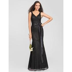 Trumpet Mermaid V Neck Floor Length Lace Bridesmaid Dress (631232)