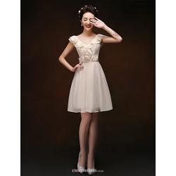 Knee Length Chiffon Bridesmaid Dress Champagne Sheath Column V Neck