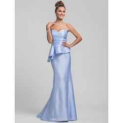 Sweep/Brush Train Taffeta Bridesmaid Dress - Sky Blue Plus Sizes / Petite Trumpet/Mermaid Sweetheart