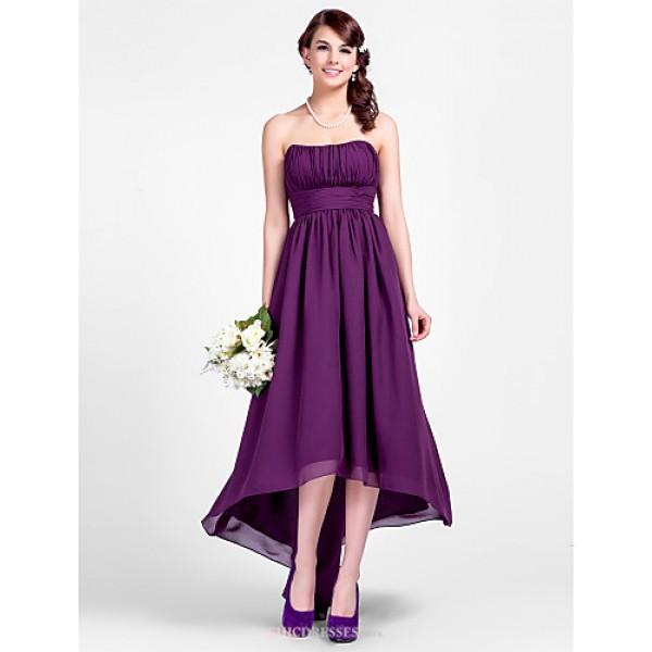 Asymmetrical Chiffon Bridesmaid Dress - Grape Plus Sizes / Petite A-line / Princess Strapless / Spaghetti Straps Bridesmaid Dresses