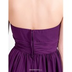 Asymmetrical Chiffon Bridesmaid Dress - Grape Plus Sizes / Petite A-line / Princess Strapless / Spaghetti Straps Bridesmaid Dresses