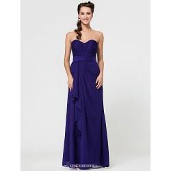 Sheath Column Sweetheart Floor Length Chiffon Bridesmaid Dress With Cascading Ruffles
