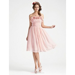 A Line Strapless Knee Length Chiffon Bridesmaid Dress With Flower