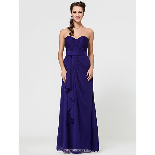 Military Ball / Formal Evening / Wedding Party Dress - Regency Petite Sheath/Column Strapless / Sweetheart / Spaghetti Straps Floor-length Bridesmaid Dresses