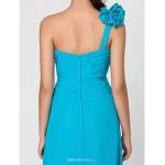 Wedding Party / Formal Evening / Military Ball Dress - Pool Sheath/Column One Shoulder / Sweetheart Floor-length Chiffon Bridesmaid Dresses
