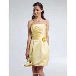 Short/Mini Satin Bridesmaid Dress - Daffodil Plus Sizes / Petite Sheath/Column Strapless