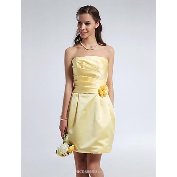 Short/Mini Satin Bridesmaid Dress - Daffodil Plus Sizes / Petite Sheath/Column Strapless Bridesmaid Dresses