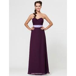 Military Ball / Formal Evening / Wedding Party Dress - Grape Sheath/Column Strapless / Sweetheart / Spaghetti Straps Floor-length Chiffon
