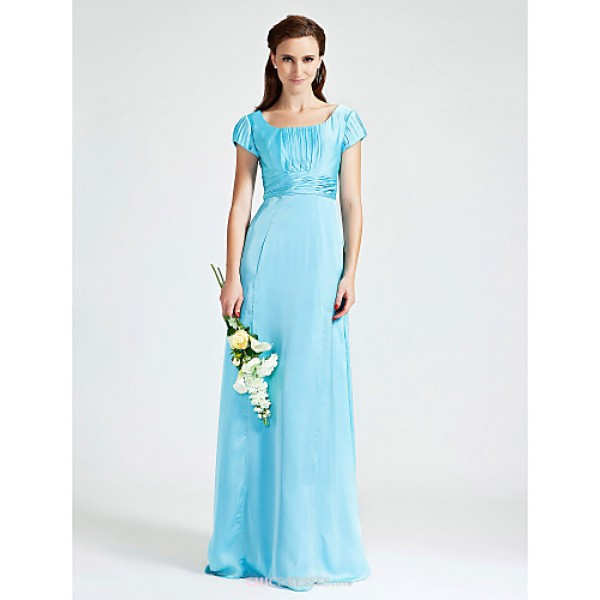 Sheath/Column Scoop Floor-length Chiffon Stretch Satin Bridesmaid Dress Bridesmaid Dresses