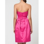 Wedding Party / Homecoming / Cocktail Party Dress - Fuchsia A-line / Princess Sweetheart / Strapless / Spaghetti Straps Knee-length Satin Celebrity Dresses