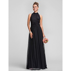 Floor Length Chiffon Bridesmaid Dress Black Plus Sizes Petite Sheath Column High Neck