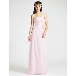 Floor-length Chiffon Bridesmaid Dress - Blushing Pink Plus Sizes / Petite Sheath/Column Strapless