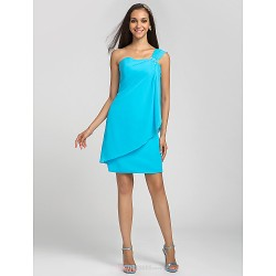 Knee-length Chiffon Bridesmaid Dress - Pool Plus Sizes / Petite Sheath/Column One Shoulder