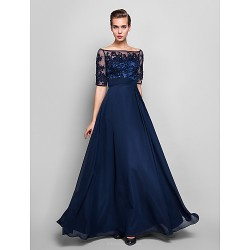 Formal Evening Military Ball Dress Dark Navy Plus Sizes Petite Sheath Column Off The Shoulder Floor Length Chiffon Tulle