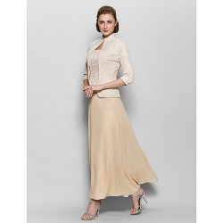 A Line Mother Of The Bride Dress Champagne Ankle Length 3 4 Length Sleeve Chiffon Lace