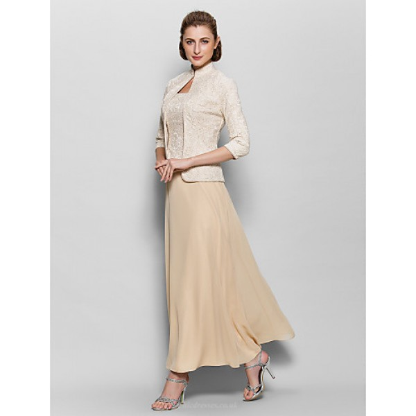 A-line Mother of the Bride Dress - Champagne Ankle-length 3/4 Length Sleeve Chiffon / Lace Mother Of The Bride Dresses