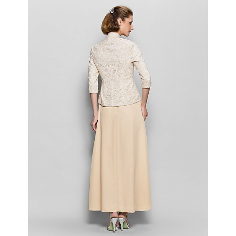 A Line Mother Of The Bride Dress Champagne Ankle Length