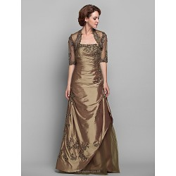 A-line Plus Sizes / Petite Mother of the Bride Dress - Brown Floor-length Half Sleeve Taffeta / Lace