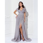 TS Couture Formal Evening / Military Ball Dress - Silver Plus Sizes / Petite Sheath/Column V-neck Sweep/Brush Train Chiffon Mother Of The Bride Dresses