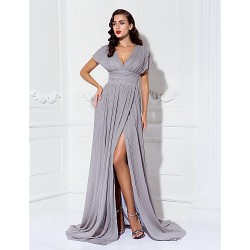 Formal Evening Military Ball Dress Silver Plus Sizes Petite Sheath Column V Neck Sweep Brush Train Chiffon