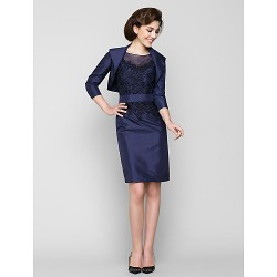 Sheath Column Mother Of The Bride Dress Dark Navy Knee Length 3 4 Length Sleeve Taffeta