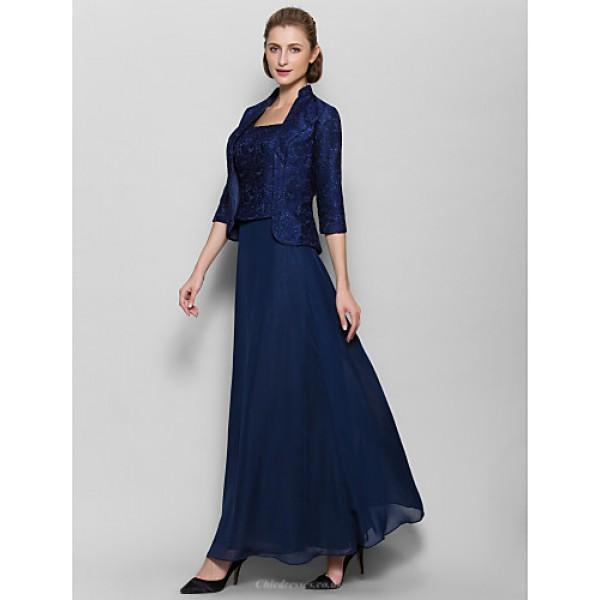 Ankle-length Chiffon Bridesmaid Dress - Dark Navy Sheath/Column Square Mother Of The Bride Dresses