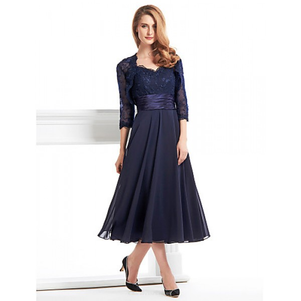 A-line Mother of the Bride Dress - Dark Navy Tea-length 3/4 Length Sleeve Chiffon / Lace Mother Of The Bride Dresses