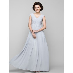 A Line Mother Of The Bride Dress Silver Floor Length Sleeveless Chiffon