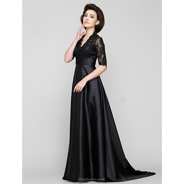 A-line Mother of the Bride Dress - Black Sweep/Brush Train Half Sleeve Lace / Charmeuse Mother Of The Bride Dresses