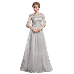 A Line Mother Of The Bride Dress Silver Floor Length Organza