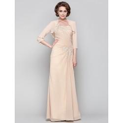 Dress - Champagne Plus Sizes / Petite Sheath/Column One Shoulder Floor-length Chiffon
