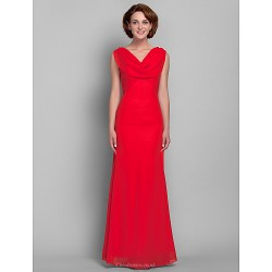 Sheath/Column Plus Sizes / Petite Mother of the Bride Dress - Ruby Floor-length Sleeveless Chiffon