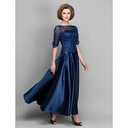 A Line Mother Of The Bride Dress Dark Navy Ankle Length Half Sleeve Satin