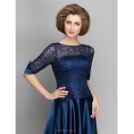 A-line Mother of the Bride Dress - Dark Navy Ankle-length Half Sleeve Satin Mother Of The Bride Dresses