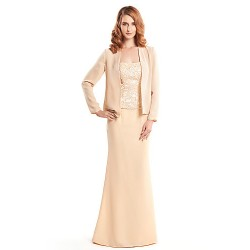 Trumpet/Mermaid Mother of the Bride Dress - Champagne Floor-length Long Sleeve Chiffon