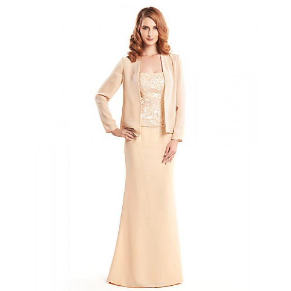 Trumpet/Mermaid Mother of the Bride Dress - Champagne Floor-length Long Sleeve Chiffon Mother Of The Bride Dresses