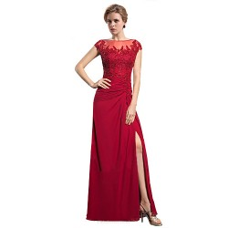 Sheath/Column Mother of the Bride Dress - Ruby Floor-length Chiffon