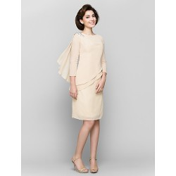 Sheath Column Mother Of The Bride Dress Champagne Knee Length 3 4 Length Sleeve Chiffon