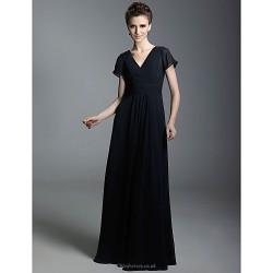 Formal Evening Military Ball Dress Dark Navy Plus Sizes Petite Sheath Column V Neck Floor Length Chiffon