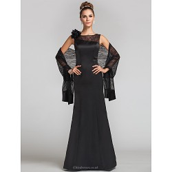 Formal Evening Military Ball Wedding Party Dress Black Plus Sizes Petite Trumpet Mermaid Jewel Floor Length Lace Satin