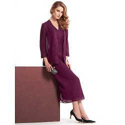 Sheath/Column Mother of the Bride Dress - Grape Tea-length 3/4 Length Sleeve Chiffon