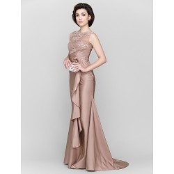 Trumpet Mermaid Mother Of The Bride Dress Brown Sweep Brush Train Sleeveless Lace Taffeta
