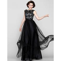 A Line Mother Of The Bride Dress Print Floor Length Sleeveless Tulle