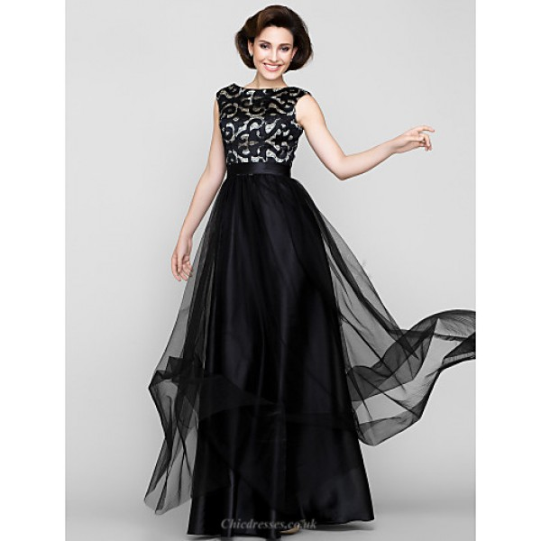 A-line Mother of the Bride Dress - Print Floor-length Sleeveless Tulle Mother Of The Bride Dresses