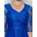 A-line Mother of the Bride Dress - Royal Blue Tea-length Half Sleeve Chiffon / Lace Mother Of The Bride Dresses